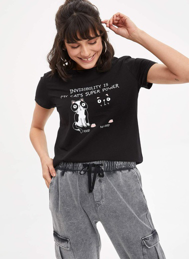 DeFacto Baskılı T-shirt Siyah